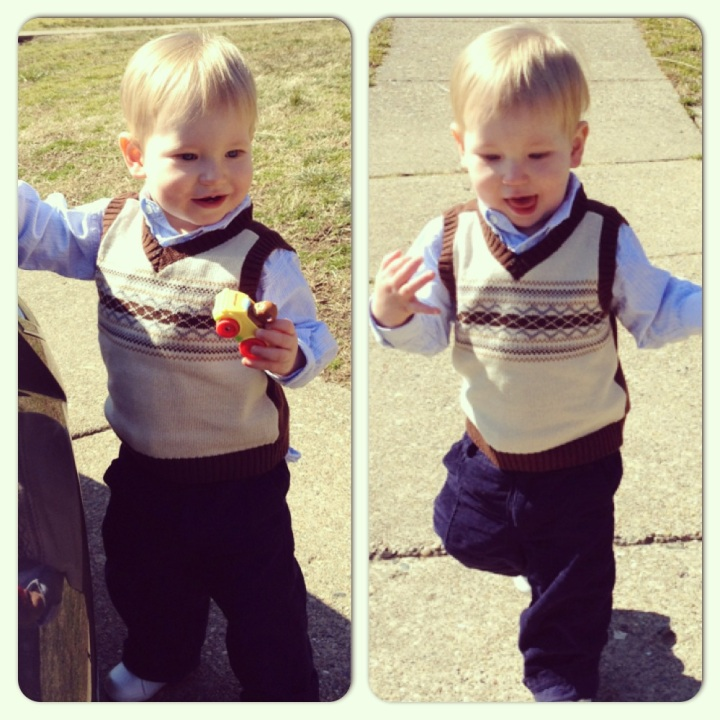 Sportin' his big boy haircut and church clothes.
