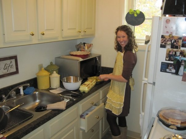 Making pies in our teeny-tiny kitchen.